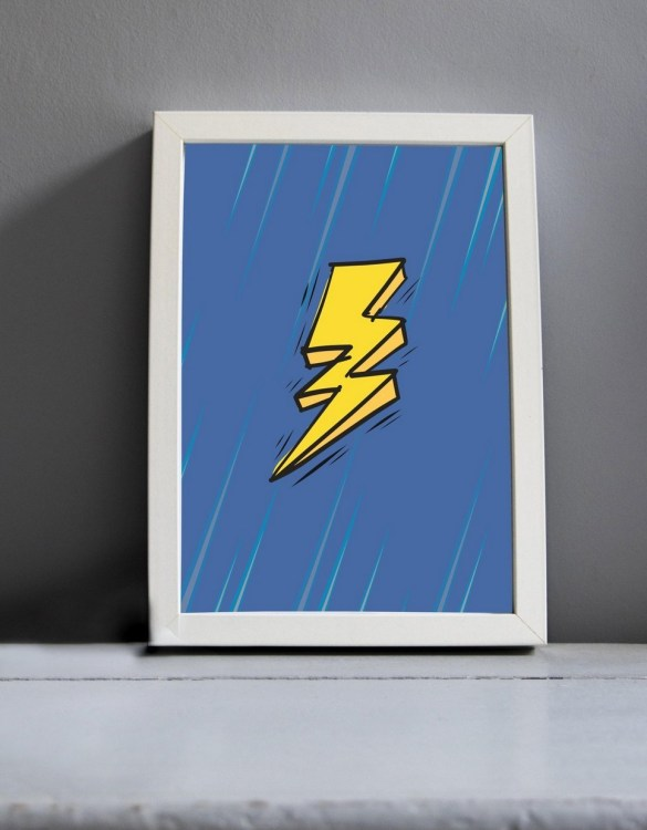 Brighten up your home with the Lightening Bolt Nursery Print. Amaze a little 'super hero' with this fabulous modern art print, lovingly made just for him.