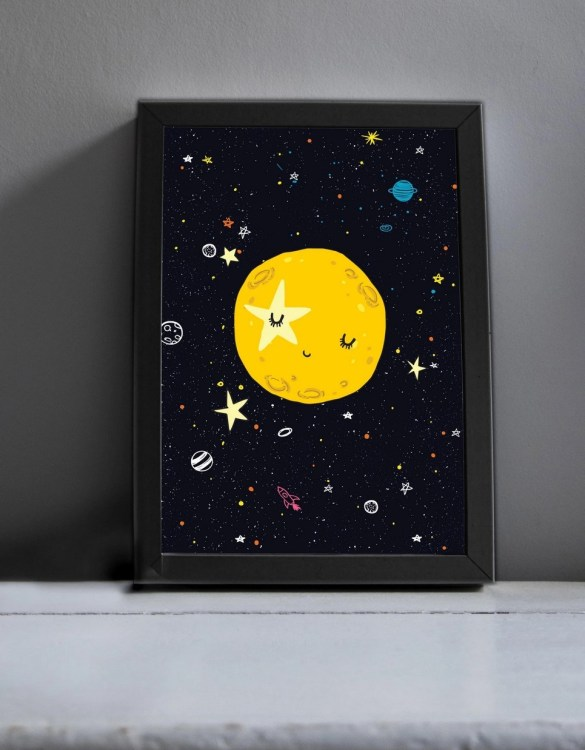 Brighten up your home with the Love You To The Moon And Back Print. Amaze a little 'super hero' with this fabulous modern art print, lovingly made just for him.
