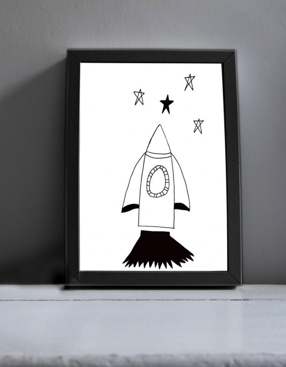 Brighten up your home with the Rickety Rocket Nursery Print. Amaze a little 'super hero' with this fabulous modern art print, lovingly made just for him.