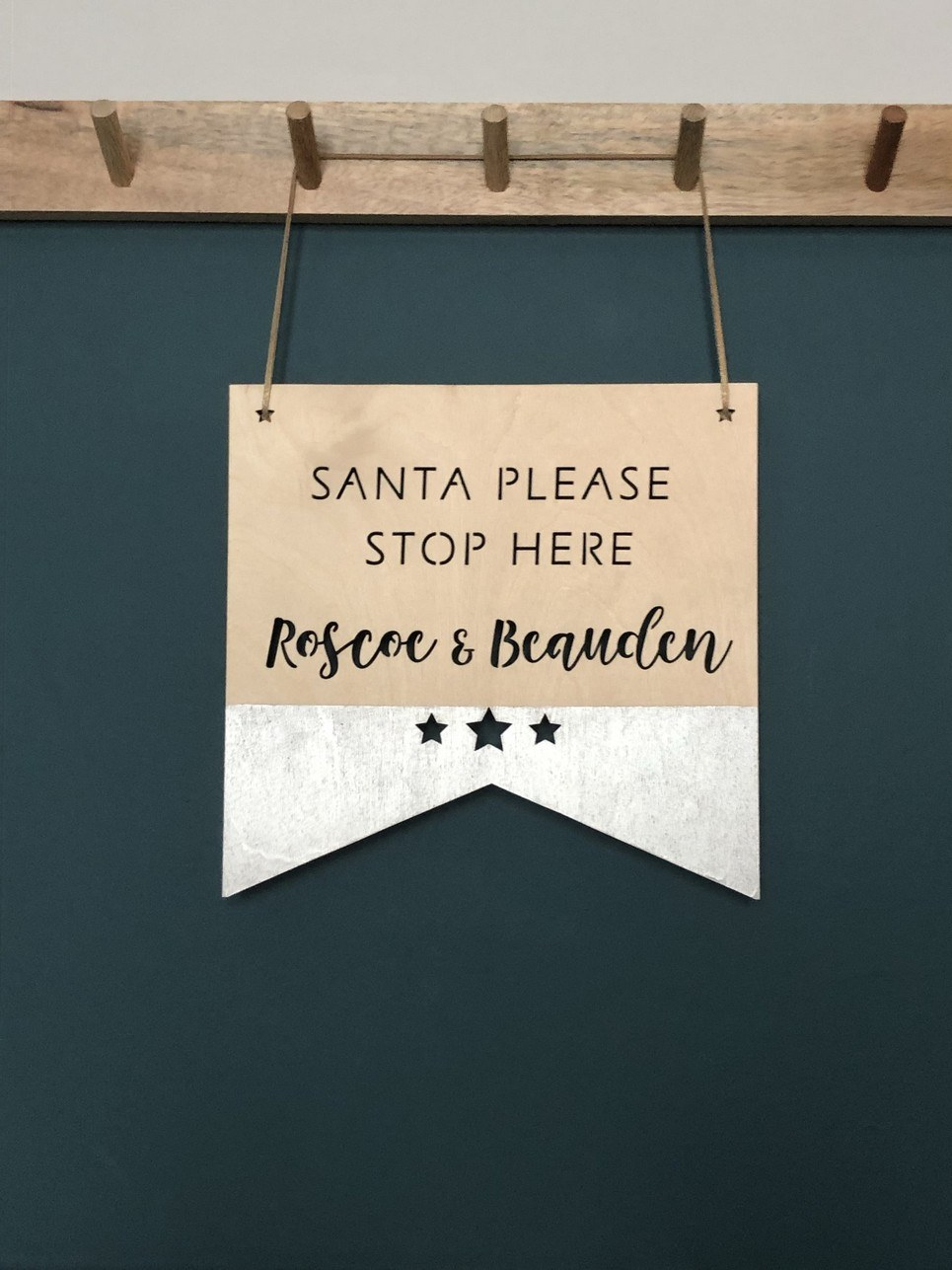 Santa Stop Here Wooden Plaque