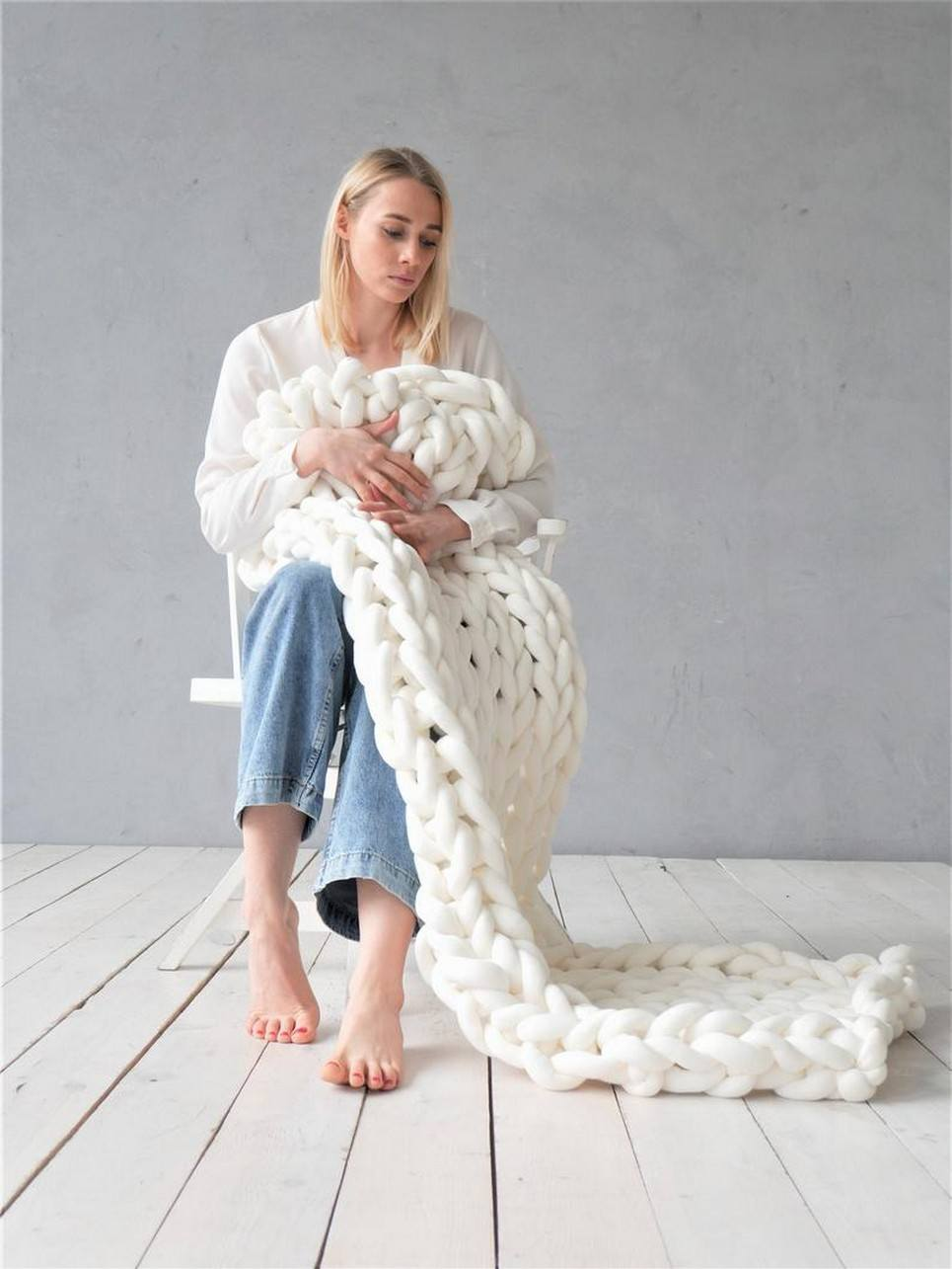 White Chunky Cotton Blanket – 1