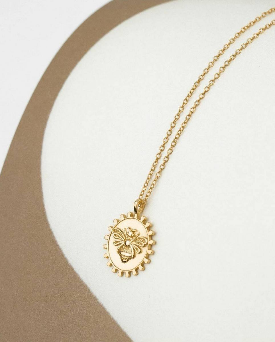 Bee Medallion Gold Necklace