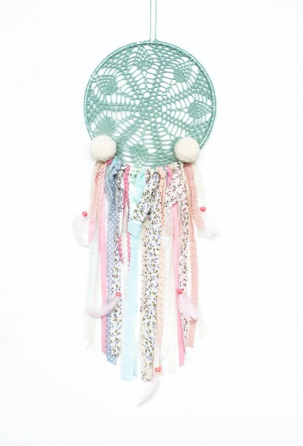 Creamy Pompons Handmade Dream Catcher