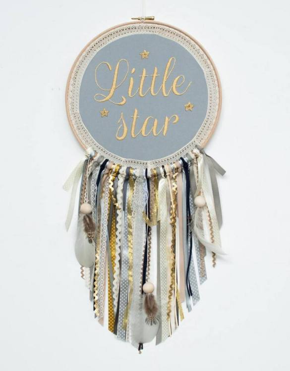 Perfect for a nursery or child's bedroom, the Gold Little Star Handmade Dream Catcher looks great as a new baby gift or to hang in the baby's nursery. Dream catchers are totems that represent good energy, and neutralize negative energy at home.