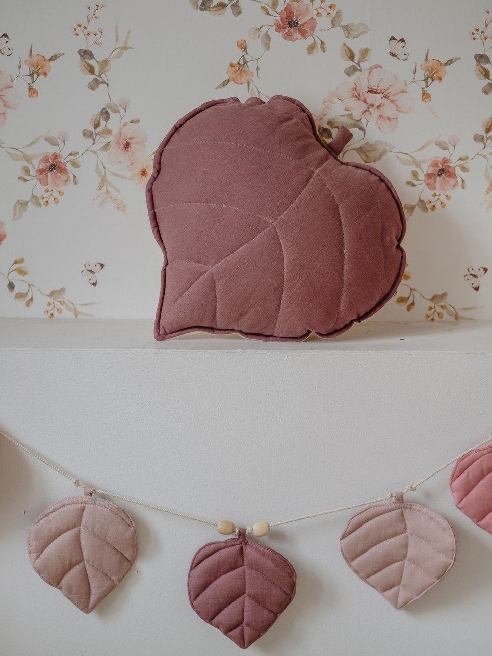 Marsala Linen Leaf Cushion