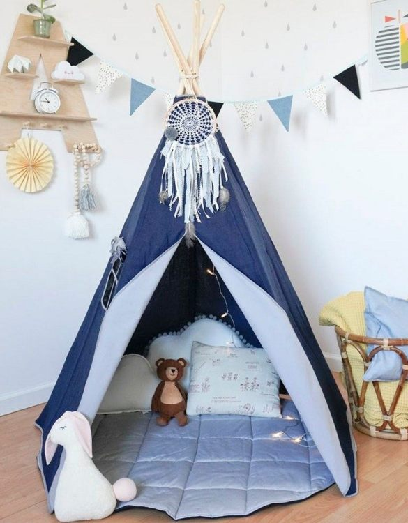 A beautifully handcrafted playtent for little adventurers, the Navy Blue Children's Play Teepee is a versatile play space which is as beautiful as it is fun. Younger children will enjoy playing camp, hosting a tea party and allowing their imagination to run free (a shop one day a space rocket the next!).