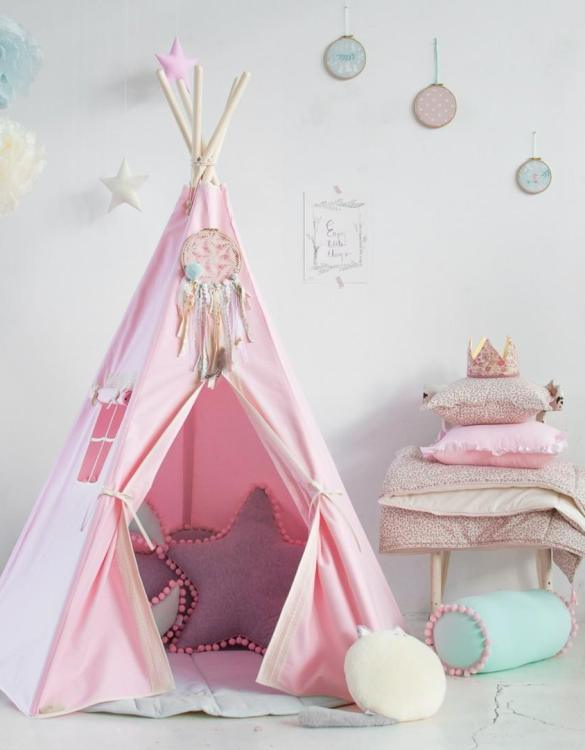 A beautifully handcrafted playtent for little adventurers, the Pink Charm Children's Play Teepee is a versatile play space which is as beautiful as it is fun. Younger children will enjoy playing camp, hosting a tea party and allowing their imagination to run free (a shop one day a space rocket the next!).