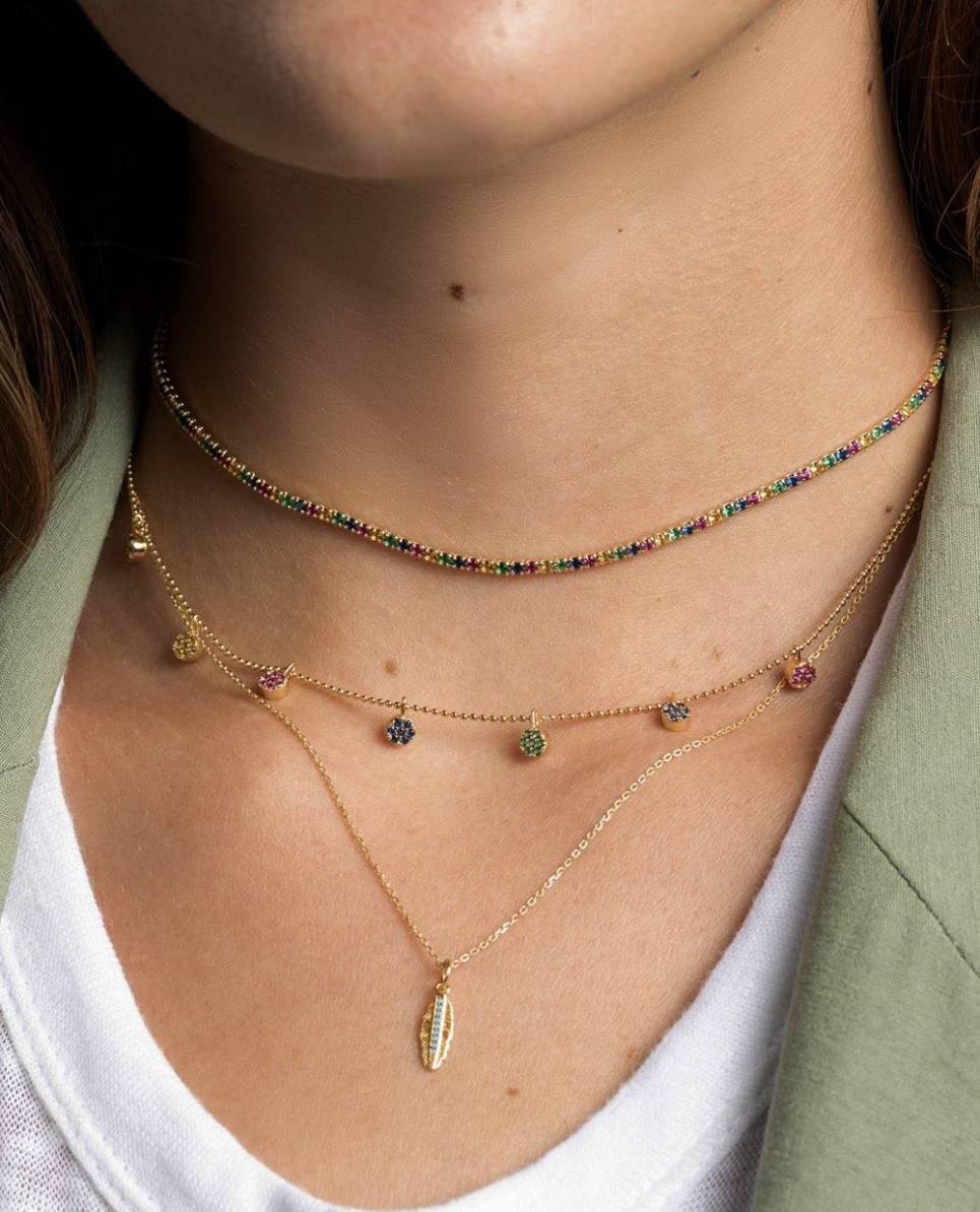 Rainbow Bridget Gold Necklace