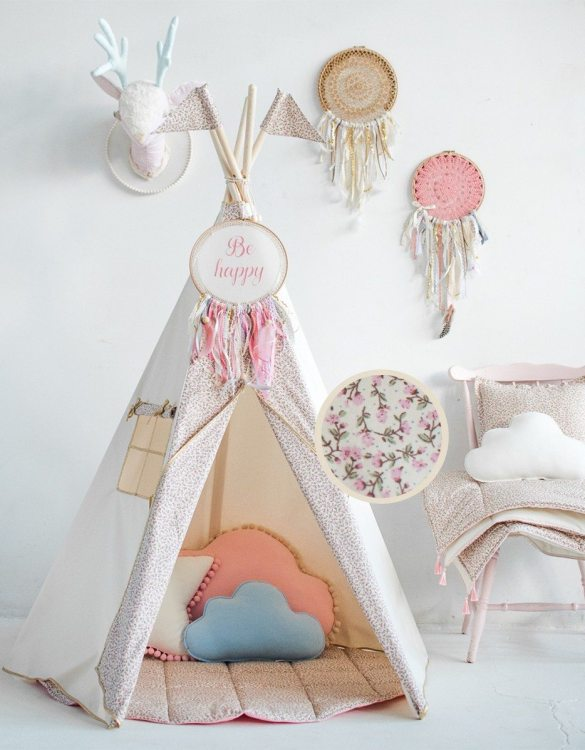 A beautifully handcrafted playtent for little adventurers, the Vintage Rose Children's Play Teepee is a versatile play space which is as beautiful as it is fun. Younger children will enjoy playing camp, hosting a tea party and allowing their imagination to run free (a shop one day a space rocket the next!).