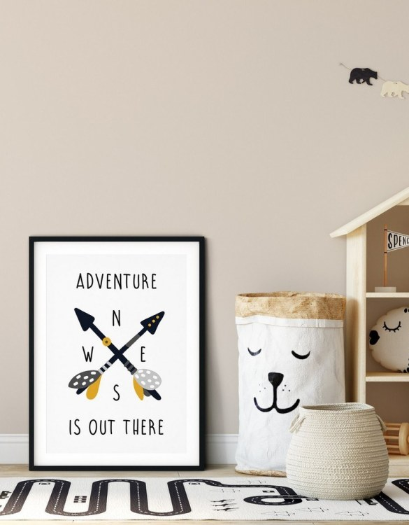 A heartfelt way of capturing a childhood memory forever, the Adventure is Out There Nursery Print is perfect to decorate your children's bedroom kids' nursery room decor art or stylish home office desk poster or living room wall.