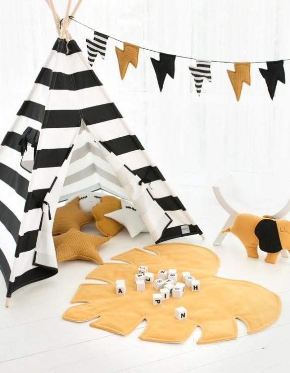 Watch your children create their own adventures with Black Stripes Children's Play Teepee! Every little adventure needs their own space to let their imaginations run wild and this kids play tent is just perfect.