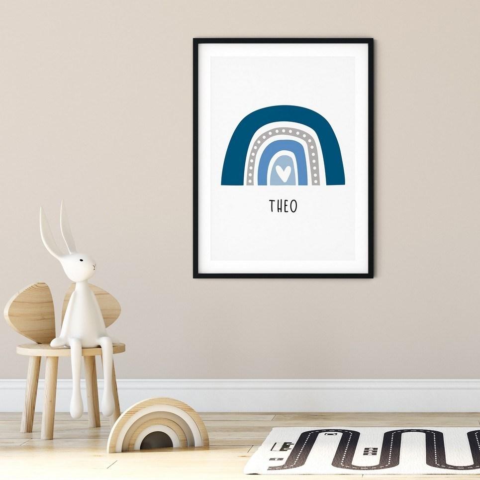 Boho Rainbow Print – Blue and Grey