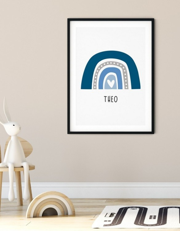 A heartfelt way of capturing a childhood memory forever, the Boho Rainbow Print - Blue and Grey is perfect to decorate your children's bedroom kids' nursery room decor art or stylish home office desk poster or living room wall.