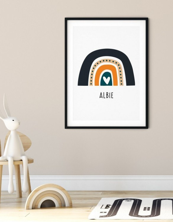 A heartfelt way of capturing a childhood memory forever, the Boho Rainbow Print - Navy and Orange is perfect to decorate your children's bedroom kids' nursery room decor art or stylish home office desk poster or living room wall.