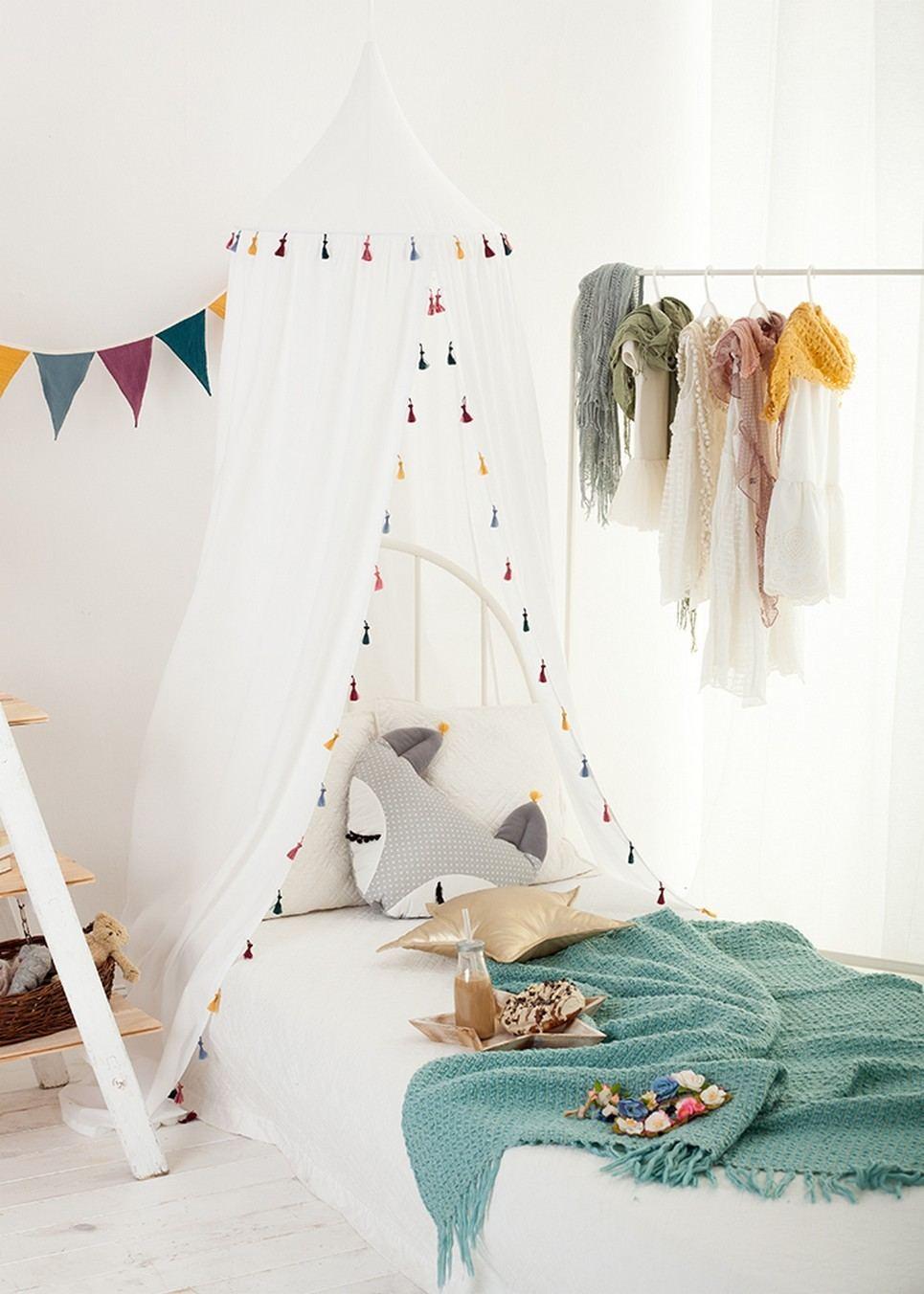 Boho White Children's Canopy with Tassels