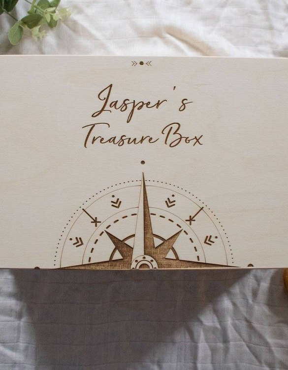 Perfect for storing precious memories, the Compass Personalised Baby Memory Box is a beautiful wooden box to use for keepsakes and for all the special memories made in your baby's first year.