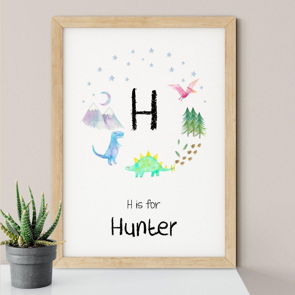 Dinosaur Initial Nursery Print