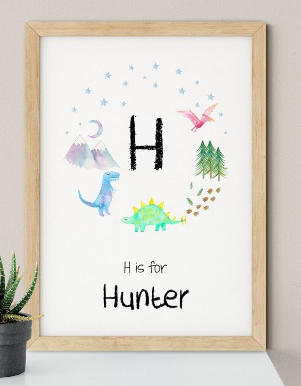 A heartfelt way of capturing a childhood memory forever, the Dinosaur Initial Nursery Print is perfect to decorate your children's bedroom kids' nursery room decor art or stylish home office desk poster or living room wall.