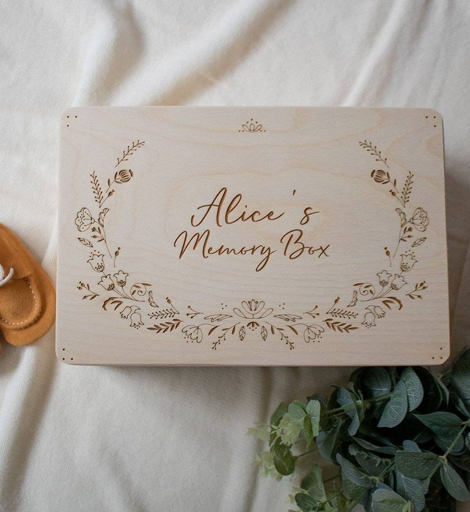 Floral Personalised Baby Memory Box – 3