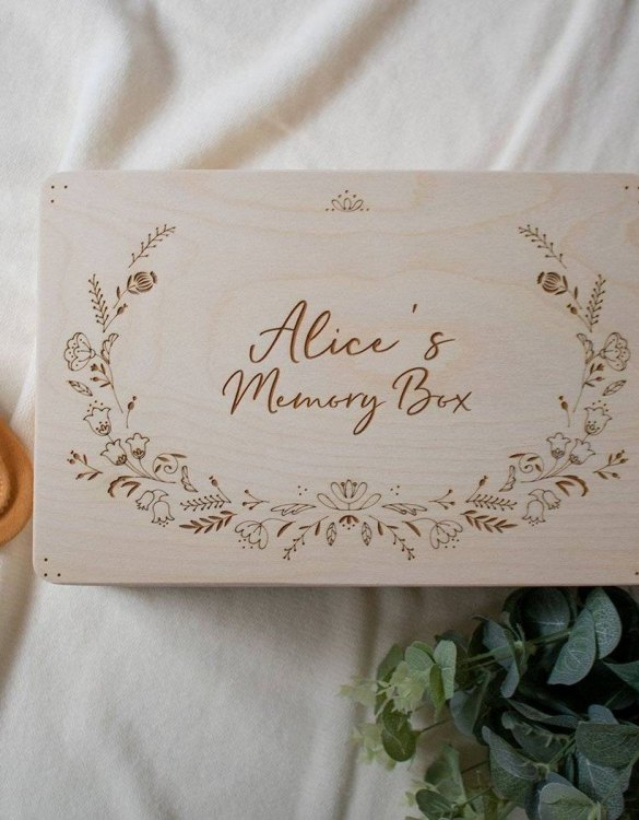 Perfect for storing precious memories, the Floral Personalised Baby Memory Box is a beautiful wooden box to use for keepsakes and for all the special memories made in your baby's first year.