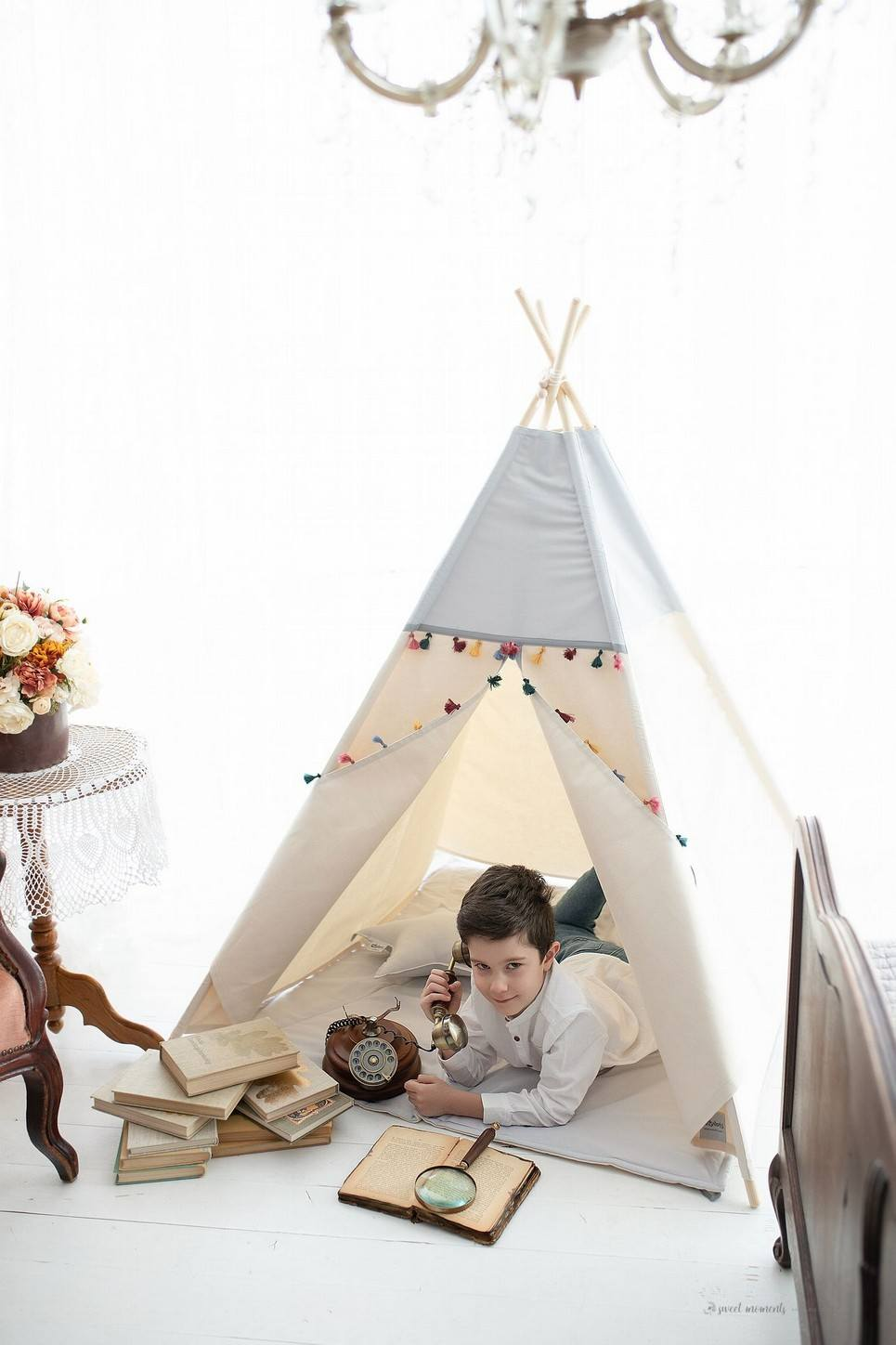 Grey Boho Children's Play Teepee