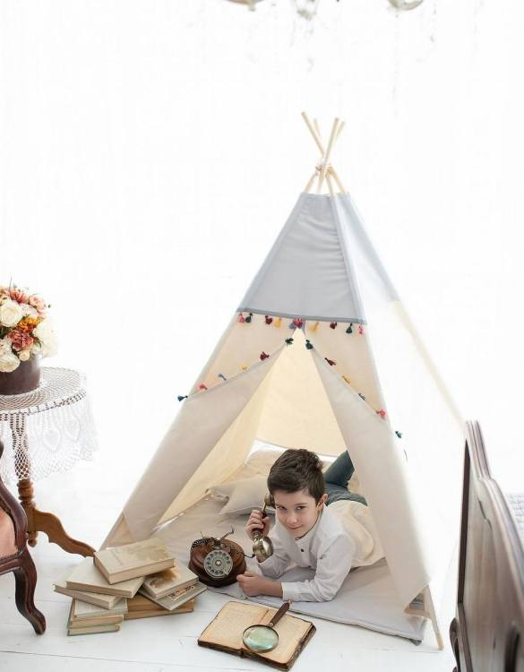 Watch your children create their own adventures with Grey Boho Children's Play Teepee! Every little adventure needs their own space to let their imaginations run wild and this kids play tent is just perfect.