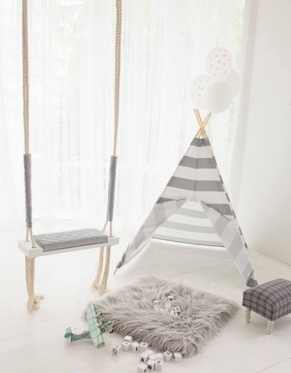Watch your children create their own adventures with Grey Stripes Children's Play Teepee! Every little adventure needs their own space to let their imaginations run wild and this kids play tent is just perfect.