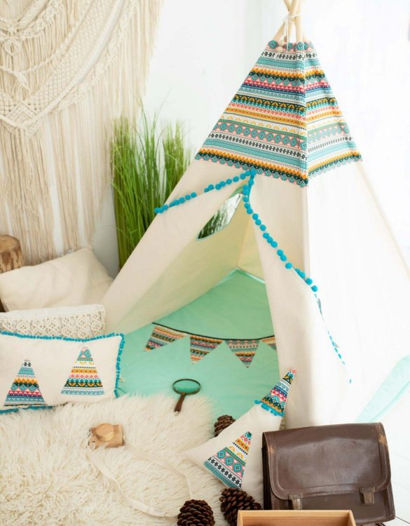 Watch your children create their own adventures with Indian Children's Play Teepee! Every little adventure needs their own space to let their imaginations run wild and this kids play tent is just perfect.