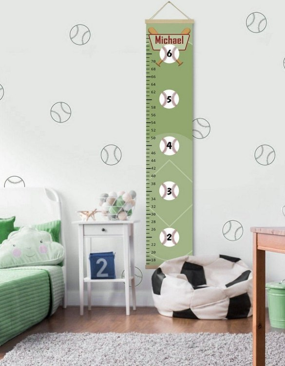 How high are your little creatures? Chart your child's growth development with the Personalised Baseball Child Growth Chart. This personalised growth chart will look perfect in your children's bedroom, nursery or playroom.