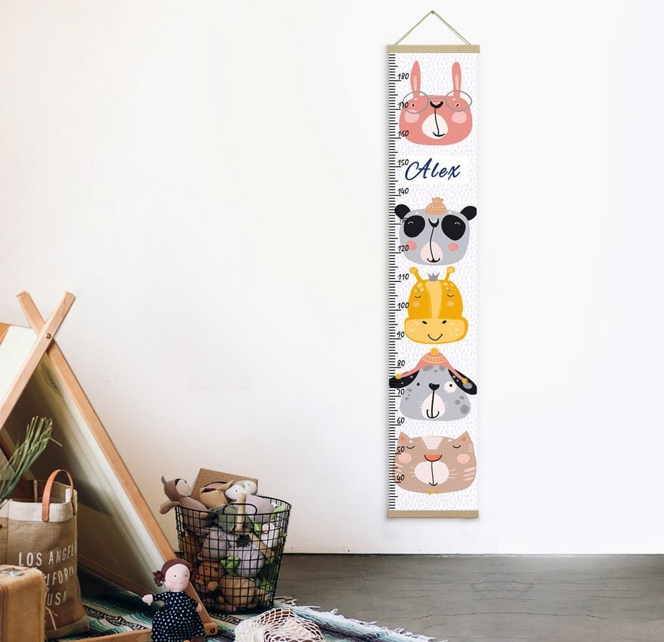 Personalised Funny Animals Child Growth Chart-min