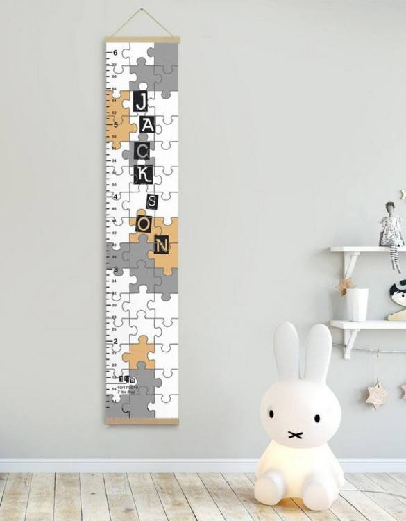 How high are your little creatures? Chart your child's growth development with the Personalised Puzzle Child Growth Chart. This personalised growth chart will look perfect in your children's bedroom, nursery or playroom.