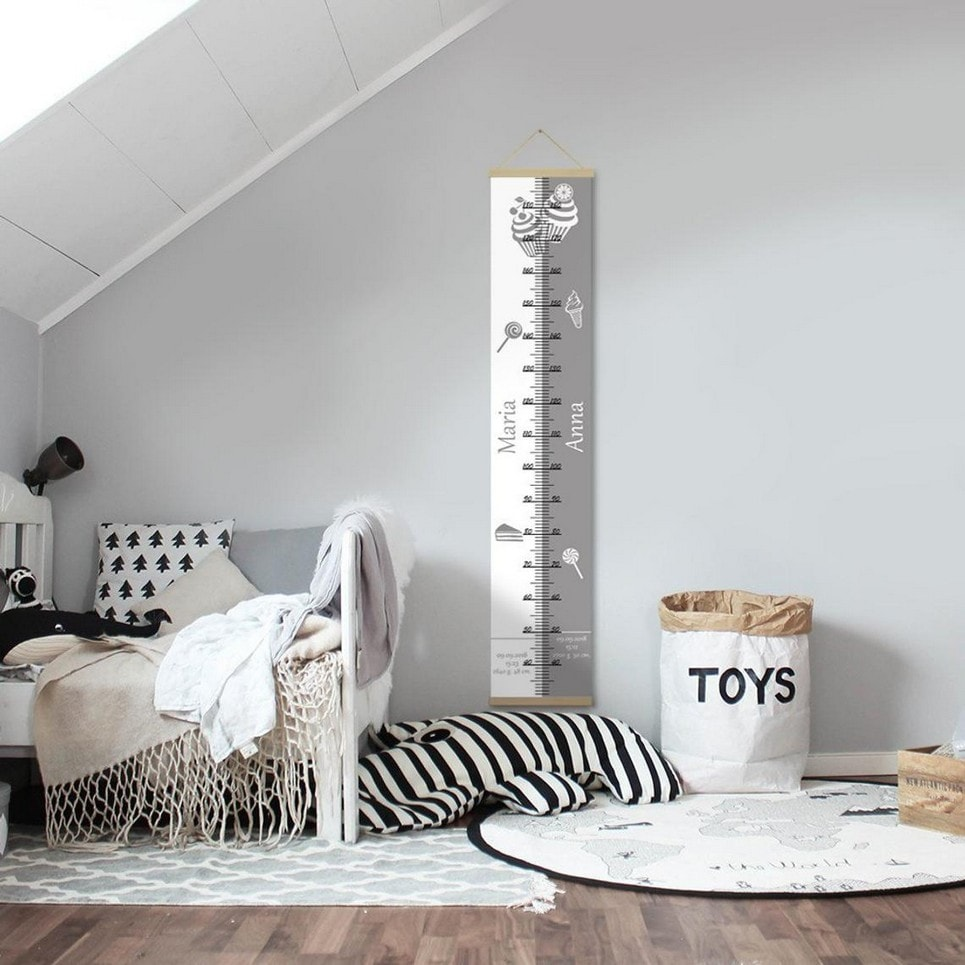 Personalised Sweet Grey Twins Growth Chart-min