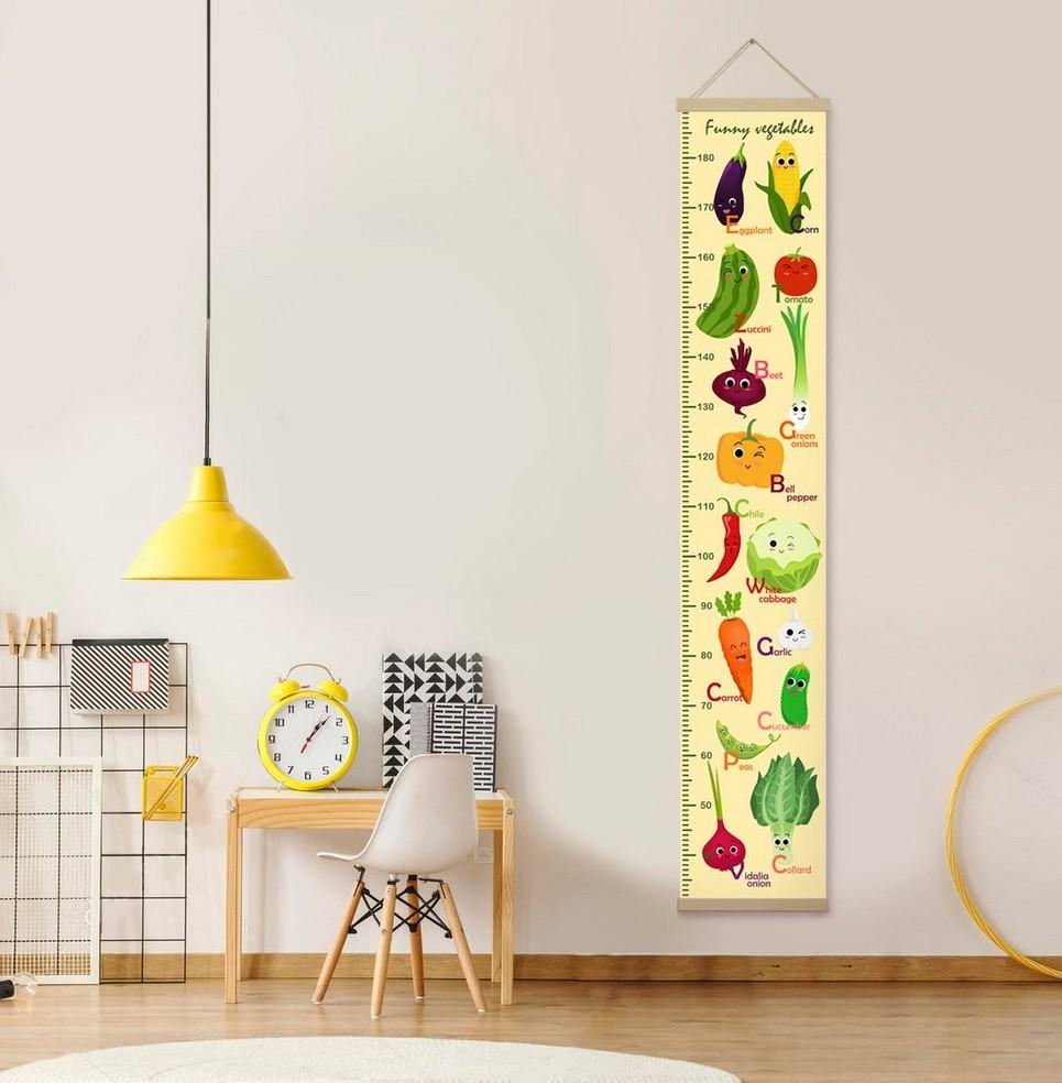 Personalised Yellow Funny Vegetables Child Growth Chart