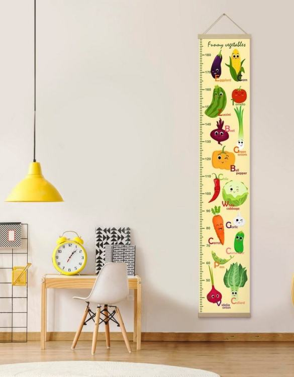 How high are your little creatures? Chart your child's growth development with the Personalised Yellow Funny Vegetables Child Growth Chart. This personalised growth chart will look perfect in your children's bedroom, nursery or playroom.
