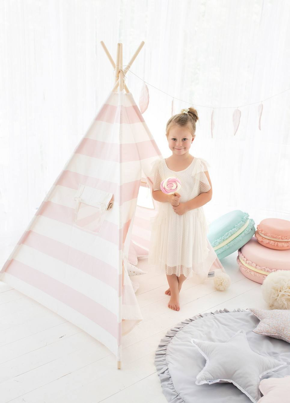 Pink Stripes Children's Play Teepee