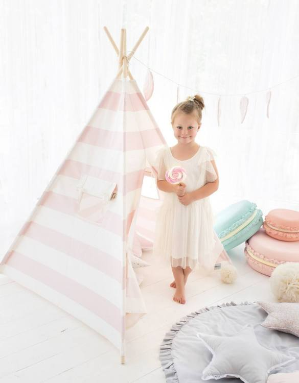 Watch your children create their own adventures with Pink Stripes Children's Play Teepee! Every little adventure needs their own space to let their imaginations run wild and this kids play tent is just perfect.