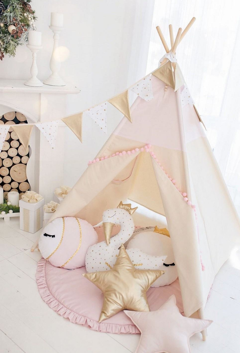 Pink with Pom Poms Children's Play Teepee