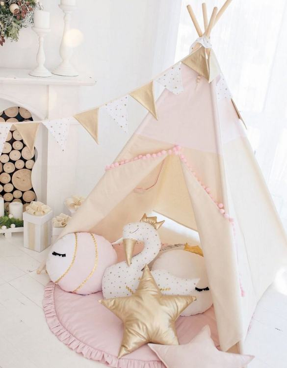 Watch your children create their own adventures with Pink with Pom Poms Children's Play Teepee! Every little adventure needs their own space to let their imaginations run wild and this kids play tent is just perfect.