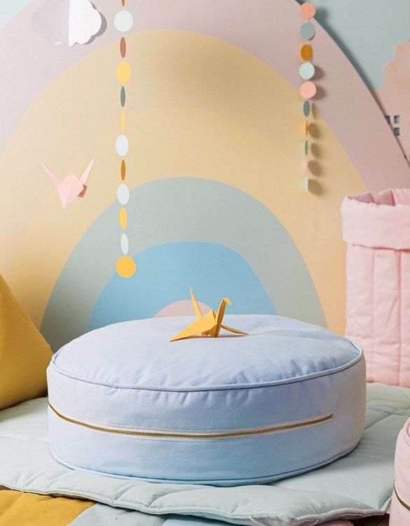 A stunning addition to a children's bedroom, the Plain Blue Children's Ottoman will instantly lift and create interest in any room in your home. A beautiful small ottoman stool, also perfect as a foot stool in a magical nursery theme.