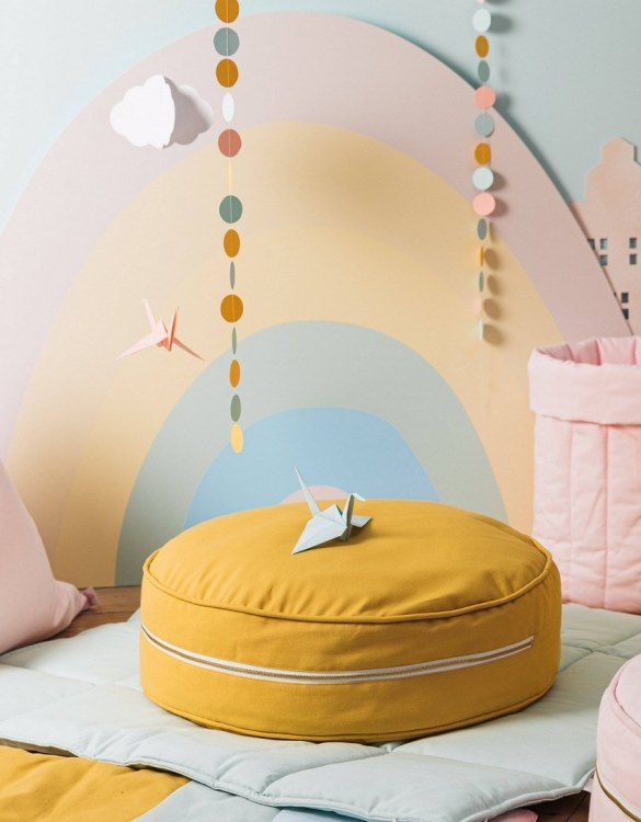 A stunning addition to a children's bedroom, the Plain Mustard Children's Ottoman will instantly lift and create interest in any room in your home. A beautiful small ottoman stool, also perfect as a foot stool in a magical nursery theme.