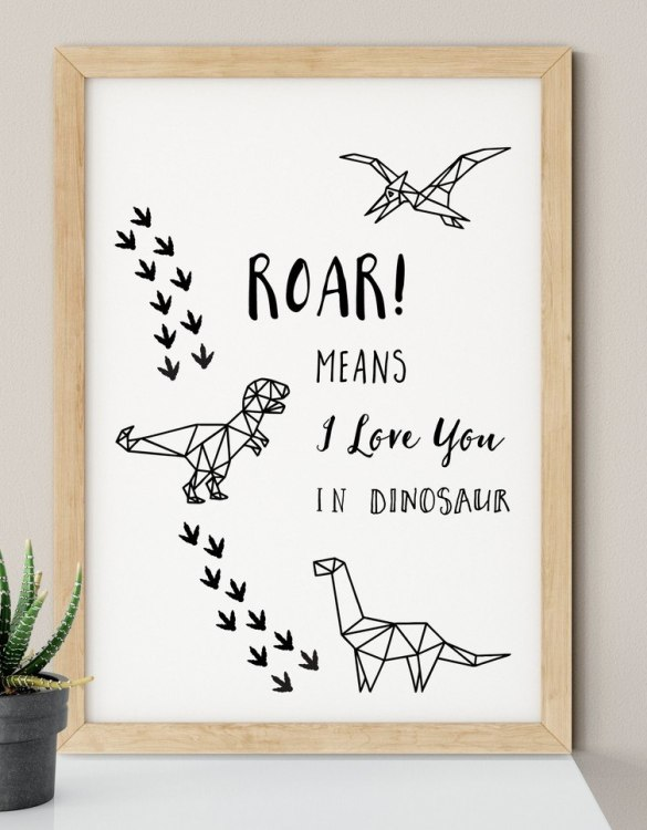 A heartfelt way of capturing a childhood memory forever, the Roar Means I Love You in Dinosaur Nursery Print is perfect to decorate your children's bedroom kids' nursery room decor art or stylish home office desk poster or living room wall.