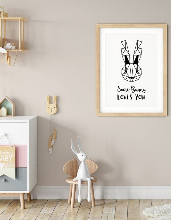 A heartfelt way of capturing a childhood memory forever, the Some Bunny Loves You Nursery Print is perfect to decorate your children's bedroom kids' nursery room decor art or stylish home office desk poster or living room wall.