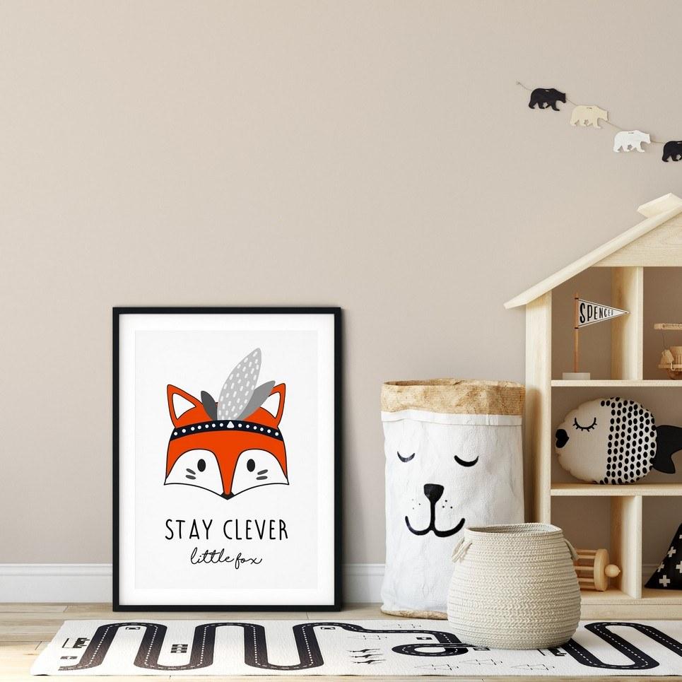 Stay Clever Little Fox Nursery Print