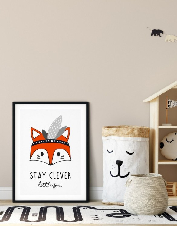 A heartfelt way of capturing a childhood memory forever, the Stay Clever Little Fox Nursery Print is perfect to decorate your children's bedroom kids' nursery room decor art or stylish home office desk poster or living room wall.
