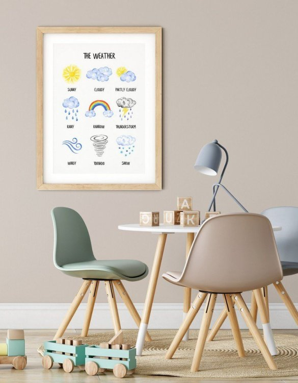 A heartfelt way of capturing a childhood memory forever, the The Weather Nursery Print is perfect to decorate your children's bedroom kids' nursery room decor art or stylish home office desk poster or living room wall.
