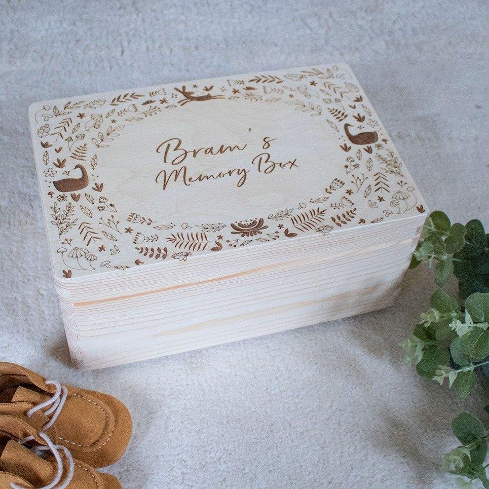 Woodland Personalised Baby Memory Box