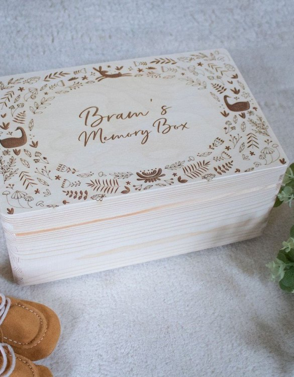 Perfect for storing precious memories, the Woodland Personalised Baby Memory Box is a beautiful wooden box to use for keepsakes and for all the special memories made in your baby's first year.