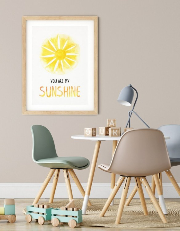 A heartfelt way of capturing a childhood memory forever, the You Are My Sunshine Nursery Print is perfect to decorate your children's bedroom kids' nursery room decor art or stylish home office desk poster or living room wall.