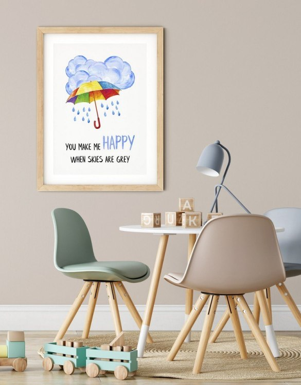 A heartfelt way of capturing a childhood memory forever, the You Make Me Happy Nursery Print is perfect to decorate your children's bedroom kids' nursery room decor art or stylish home office desk poster or living room wall.