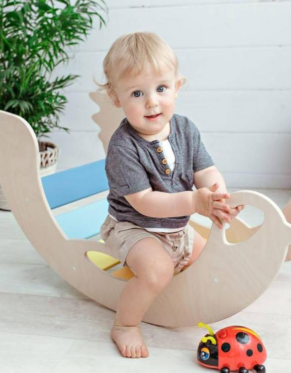 A real educational wooden toy, the Birdie Rainbow Rocking Toy is perfect for creative and curious toddlers at playtime. This rocking toy could be an ideal starting point for a toddler's healthy development as it offers a lot of excitement and directs children to take joy in movement.